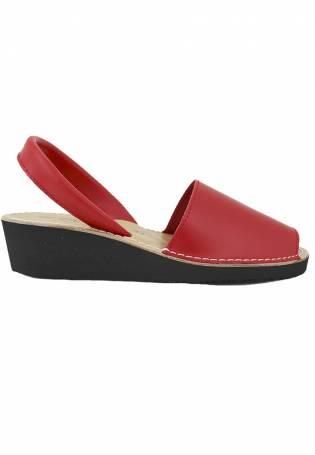 Zapattu Sandalias - Menorquina Cuña Rojo para mujer El más barato para la venta Edición limitada en línea Calidad al por mayor Con Mastercard Barato Online Tienda barata para G4RA14
