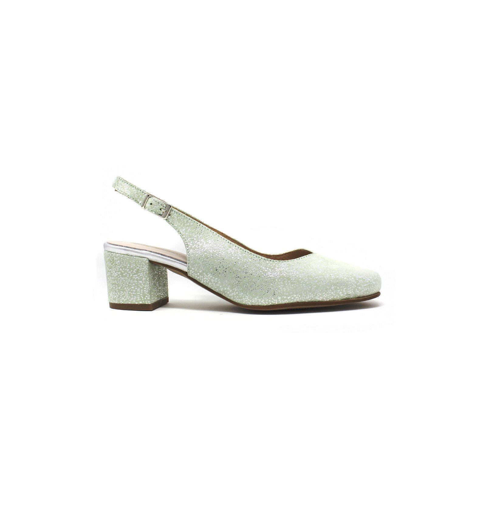 26464cd050e Pomares - Zapato salón verde con brillante para mujer