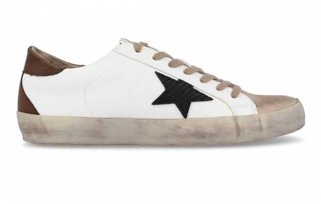 Corina - Sneaker Puntera Estrella Negro Blanco