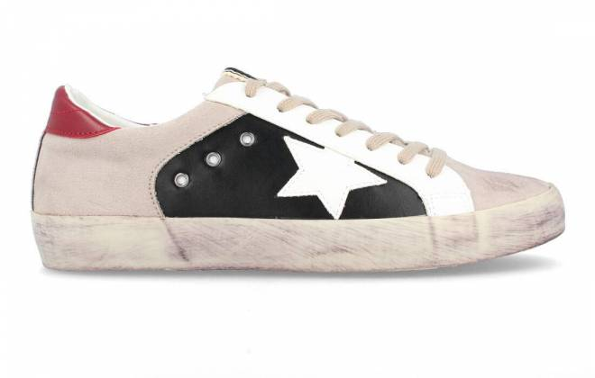 Corina - Sneaker Puntera Estrella Blanco Negro