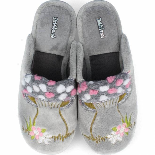Devalverde - Zapatillas Chinela Mujer Seta Gris