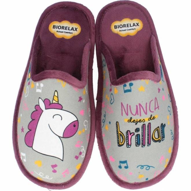 BioRelax - Zapatillas Mujer Unicornio Gris