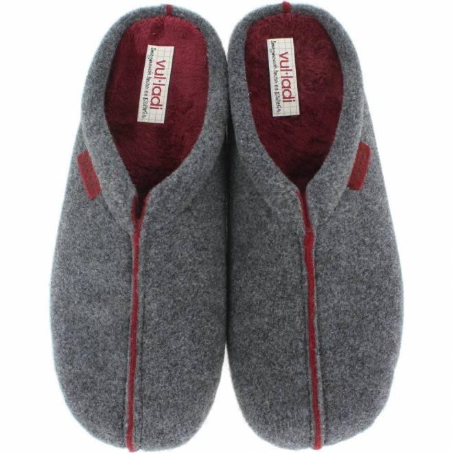 Vul ladi - Zapatillas de Casa Hombre Chinela Fieltro Gris