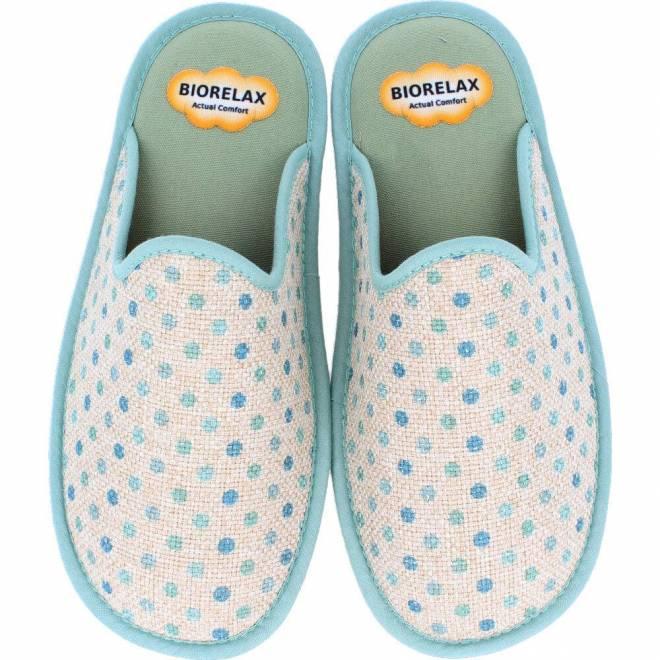 BioRelax - Zapatillas Mujer Lunares Azul Cian Verano