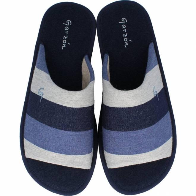 Garzón - Zapatillas Hombre Parquet Rayas Azul