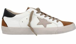 Corina - Zapatillas Corina Estrella Cuero Blanco Taupe