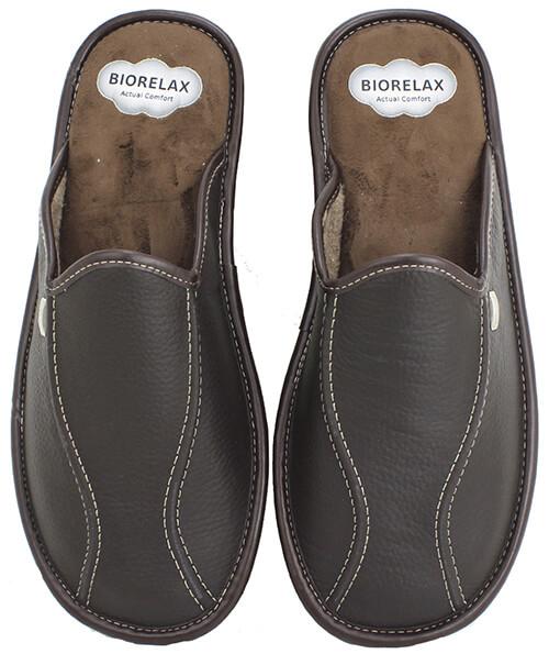 zapatillas biorelax hombre en piel marrón